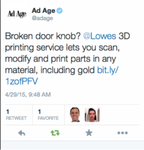 Tweet from Ad Age, Lowes' DoorKnob Printing
